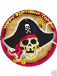 "7.5"" Pirate Personalised Edible Icing or Wafer Paper Cake Top Topper"